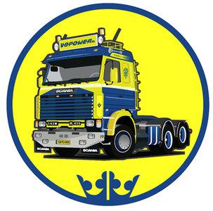 Sticker rond 143 blauw geel