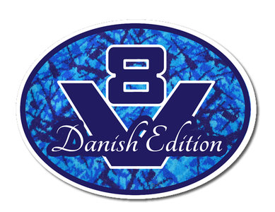 Sticker V8 Danish Edition Blauw
