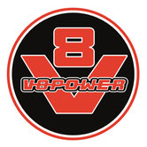 Sticker-Rond-65-mm-V8-logo-Zwart-Rood-SET