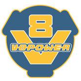 Sticker-V8power-blauw-geel